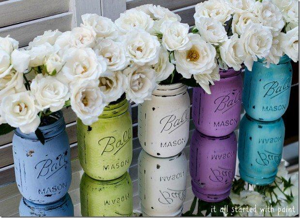 Truc de décoration a peu de frais avec pots masson eu guise de pots à fleurs
