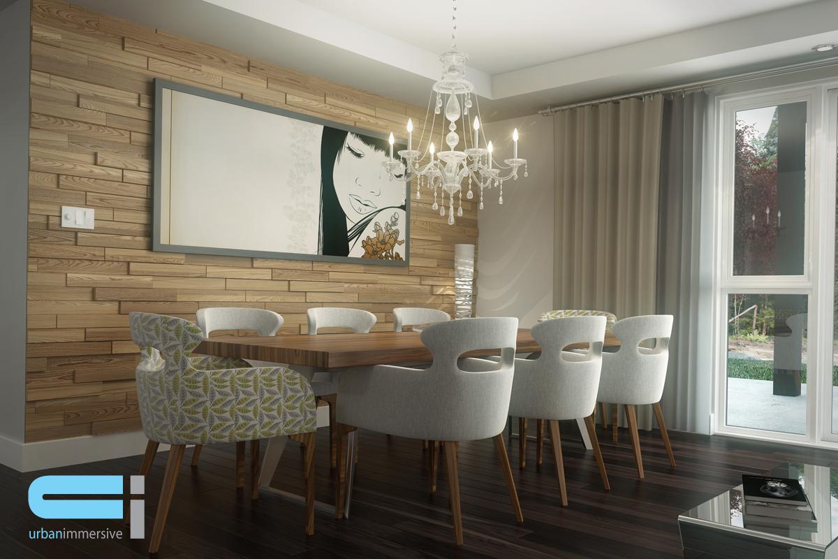 Salle à manger avec table et mur décoratif en bois orné d'un tableau