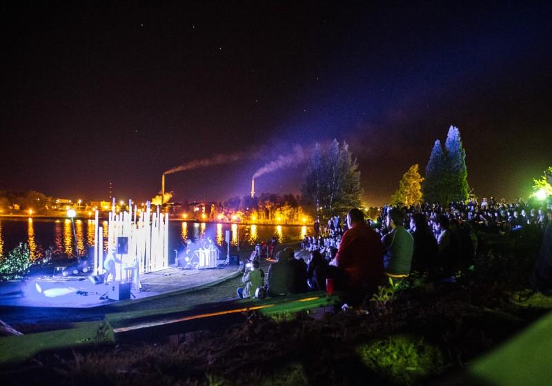 Vue d'ensemble du site du festival de musique émergente de Rouyn Noranda