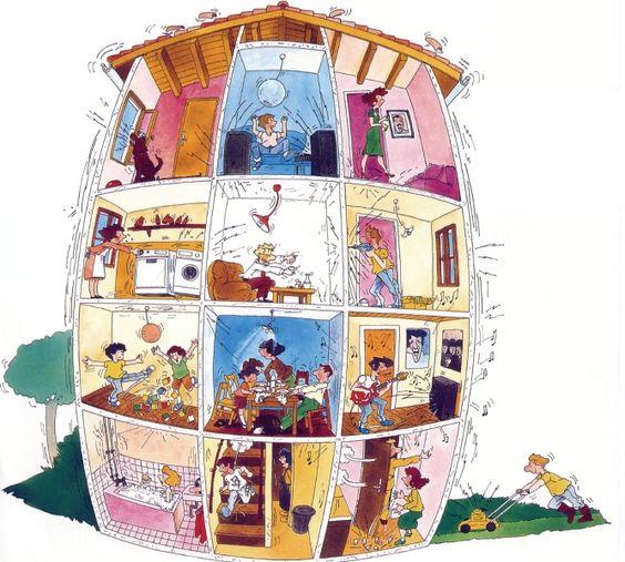 Dessin de maison / appartement syumbolisant la cohabitation de plusieurs personnes / familles