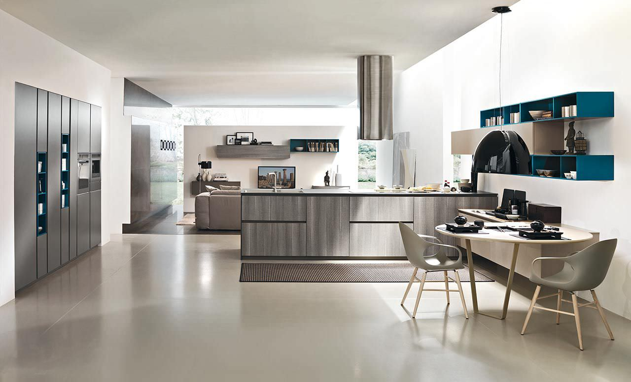 Hotte de cuisine murale de style futuriste dans un décor moderne