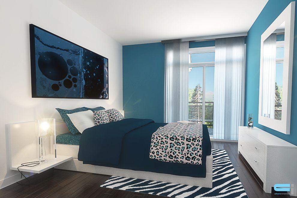 Chambre à coucher avec litterie à motif de léopard