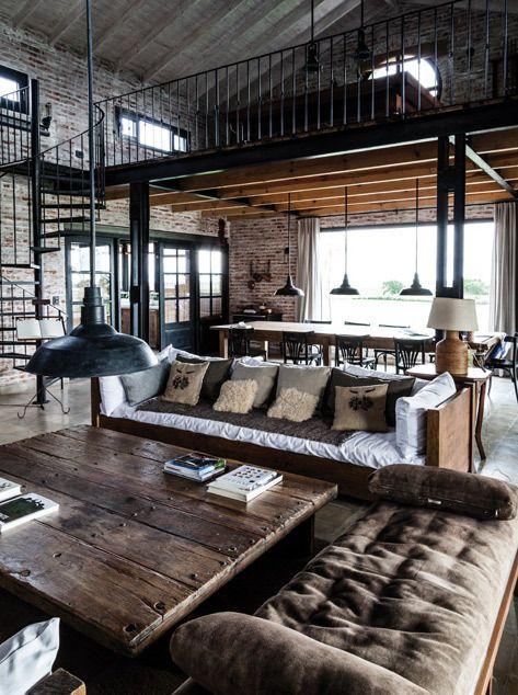 Décoration masculine style loft old school.