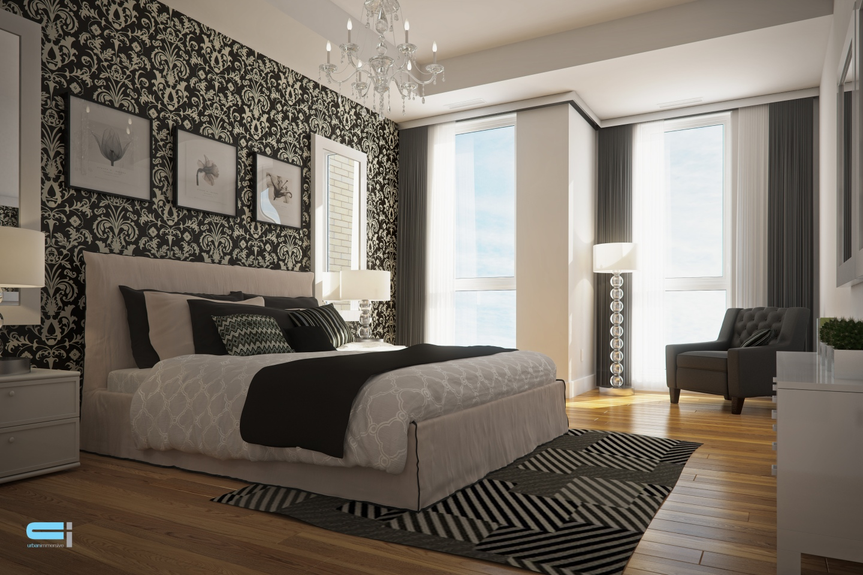 Chambre à coucher aux accents décoratifs noir et blanc de style classique