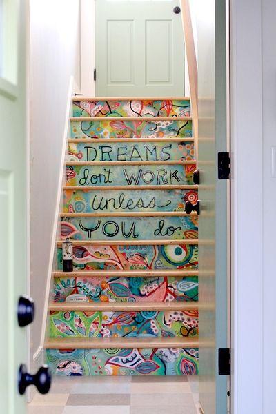 Contre marche d'escalier peinturées style new school