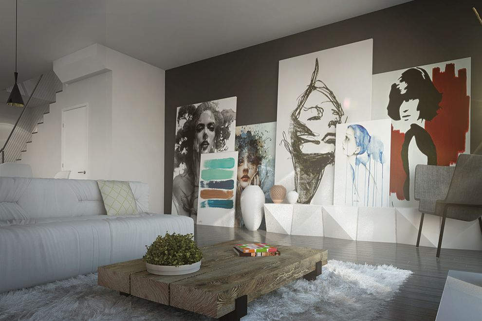 Mur décoratif avec aquarelles et peintures grand formats.