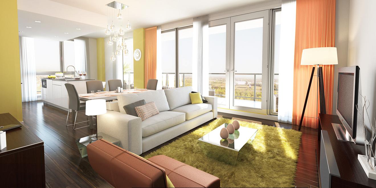 Propriété de style aire ouverte avec salon, salle à manger et cuisine avec mur peinturé et accents décoratifs de couleur jaune Ochre Gold