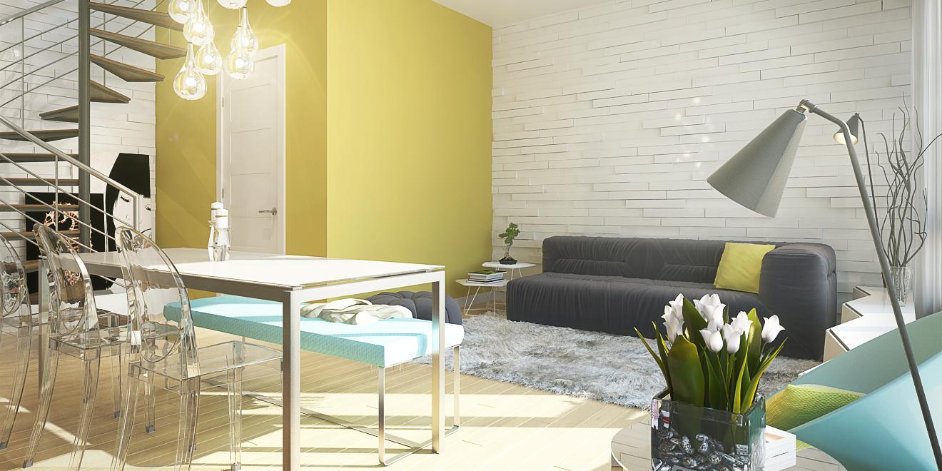 Propriété de style aire ouverte avec salon et salle à manger avec mur peinturé et accents décoratifs de couleur jaune Ochre Gold
