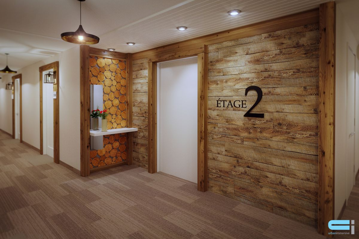 Mur de couloir en bois de poutre