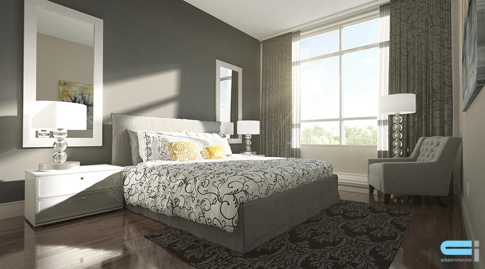 Chambre à coucher à la décoration impécable avec literie accentué