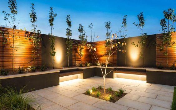Éclairage encastré sur une terrasse