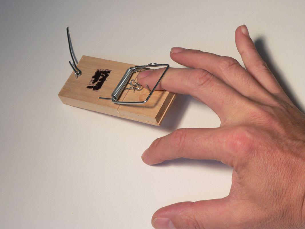 Image d'une main dans une trappe à souris