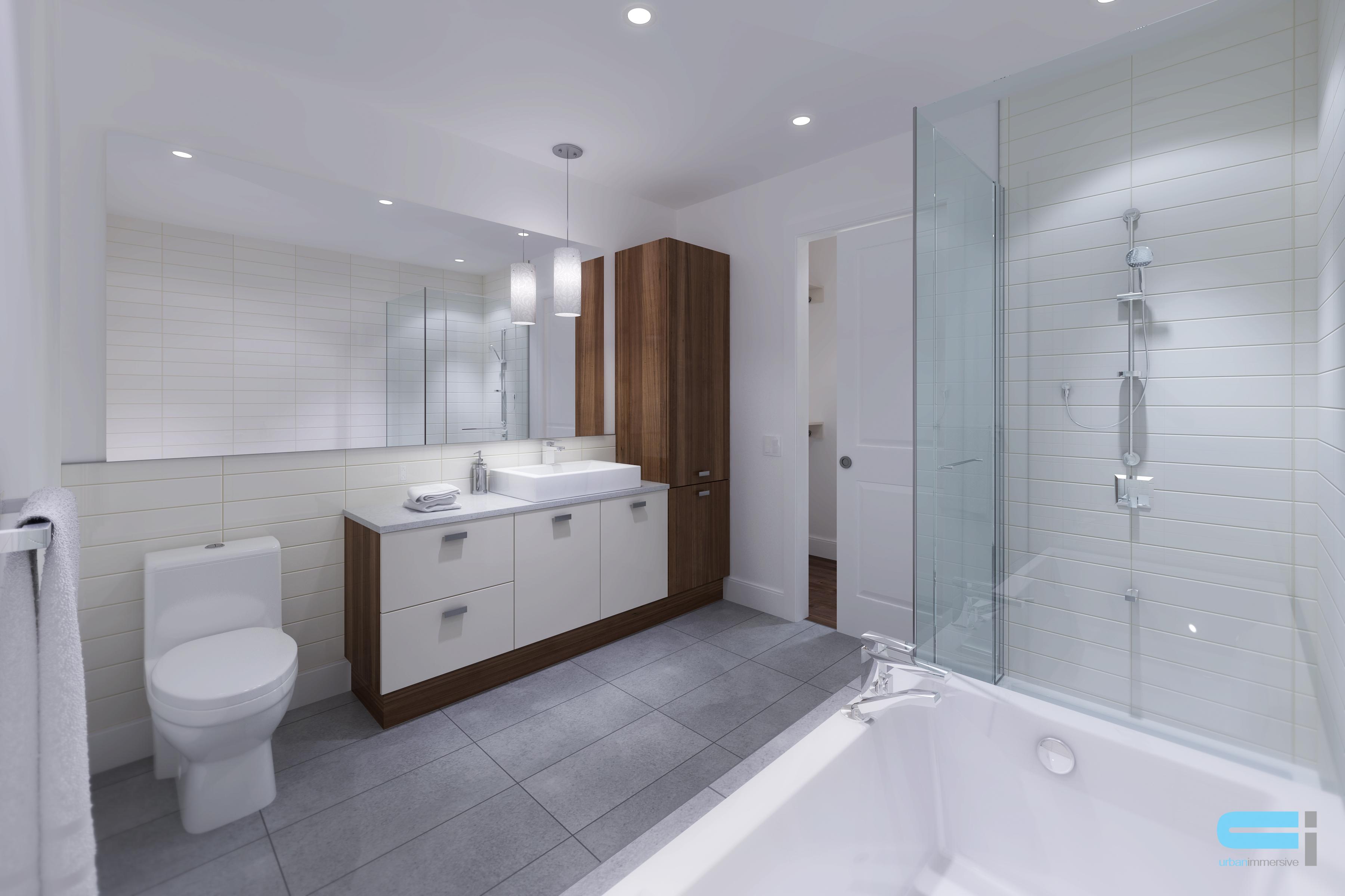 Salle de bain de style minimaliste et épuré qui ose le blanc