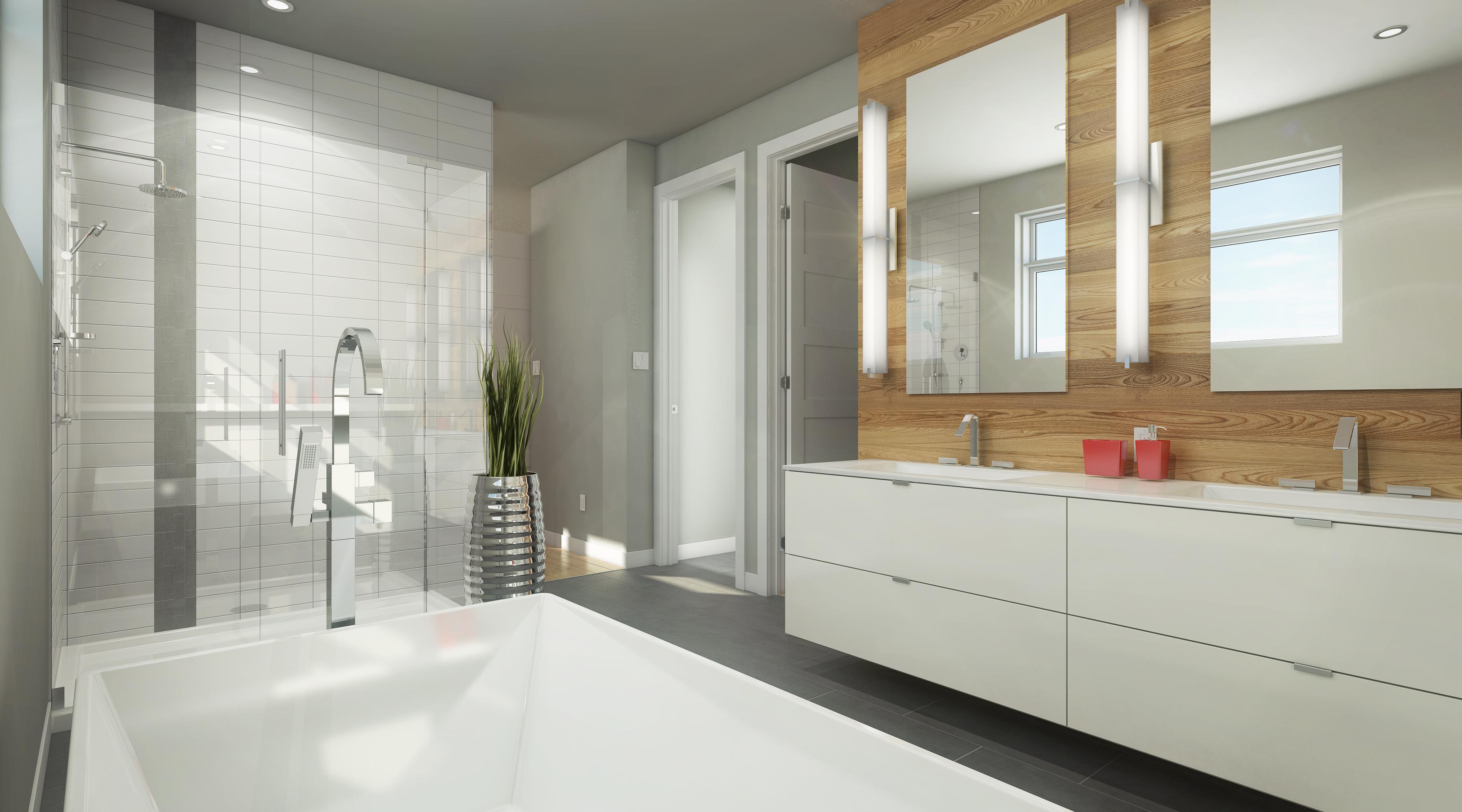 Salle de bain avec douche et bain indépendant de couleur neutre avec mur décoratif en bois