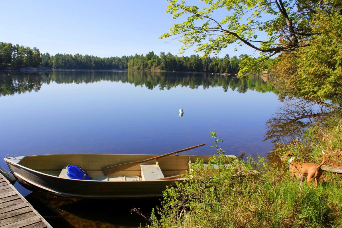 Vue du lac du bord du quai, bonjour les moustiques