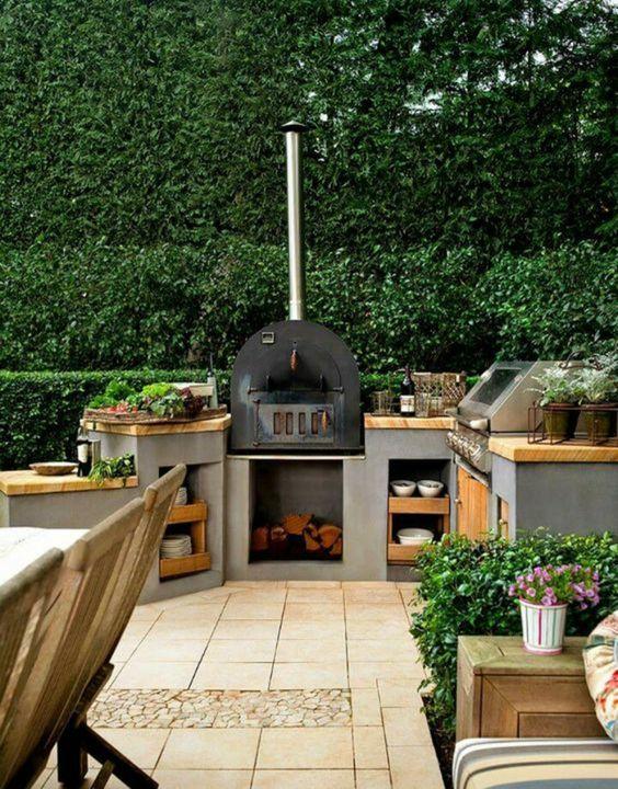 dans tous les cas prvoyez suffisamment de place pour le barbecue la plancha le plan de travail un vier et quelques rangements - Plan De Travail Pour Cuisine Exterieure