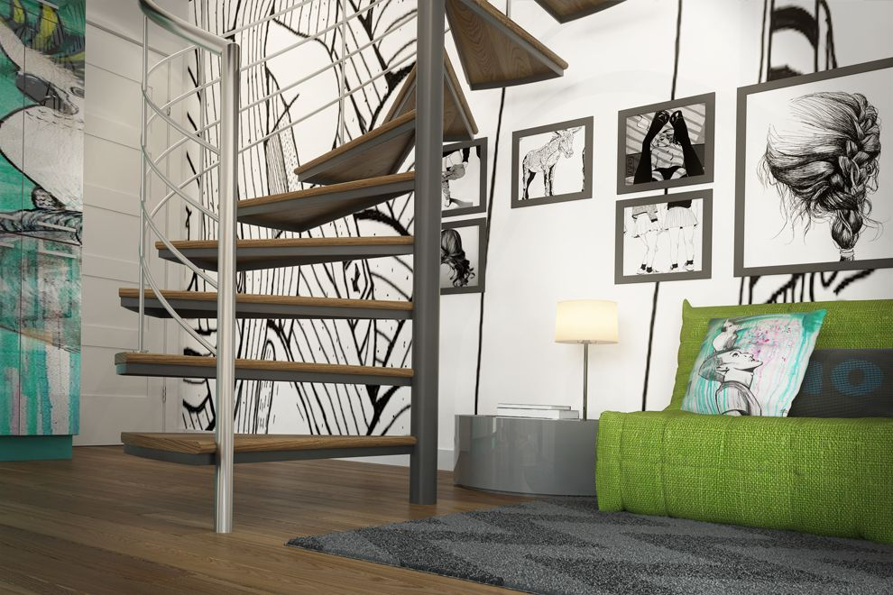 Mur de cage d'escalier décoré avec appliquers noir et blanc