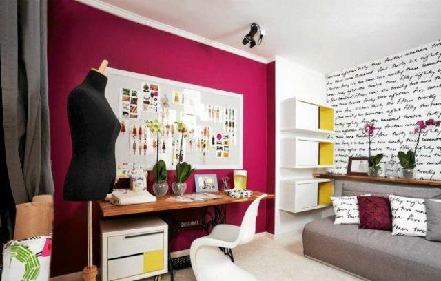 Chambre d'adolescente avec décoration de couturier designer