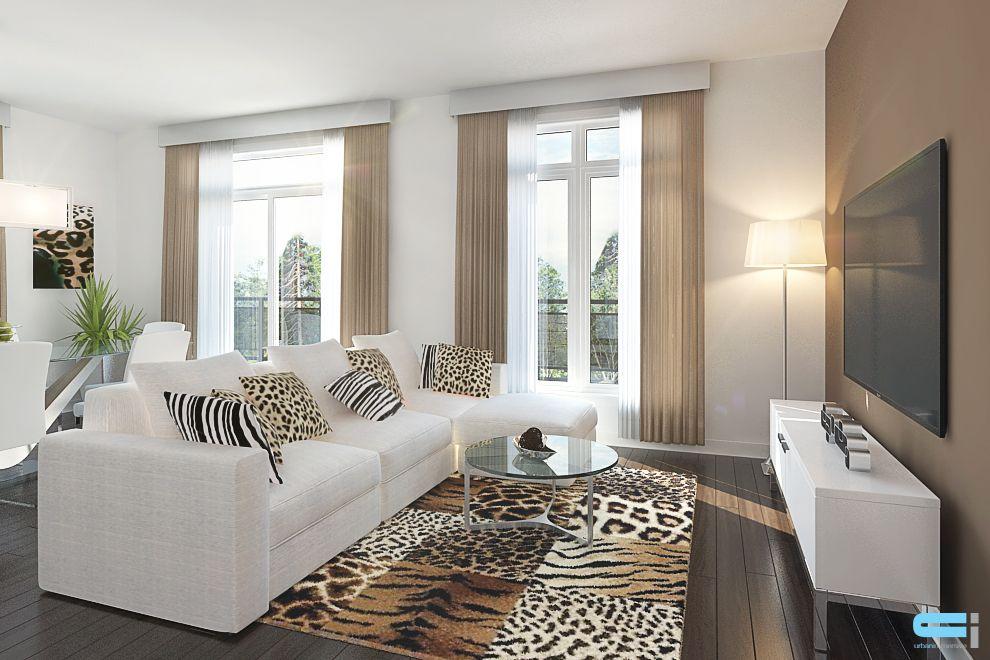 Salon décoré avec tapis et coussin à motif de léopard