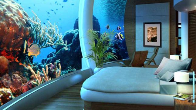 Chambre à coucher avbec vue SOUS la mer