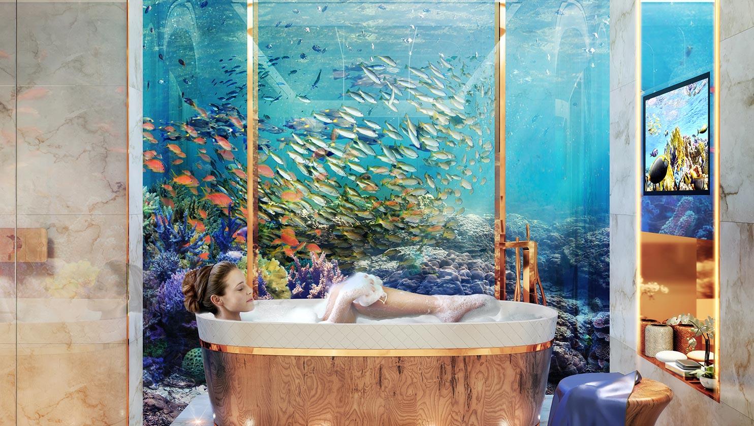 Salle de bain avec vus SOUS l'eau