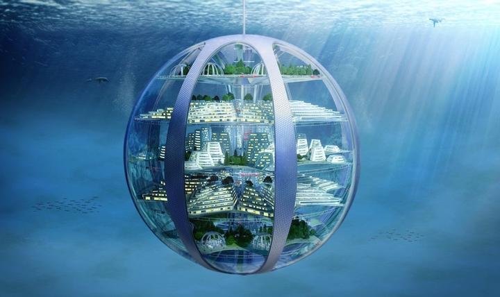 Vue sur une ville sous marine