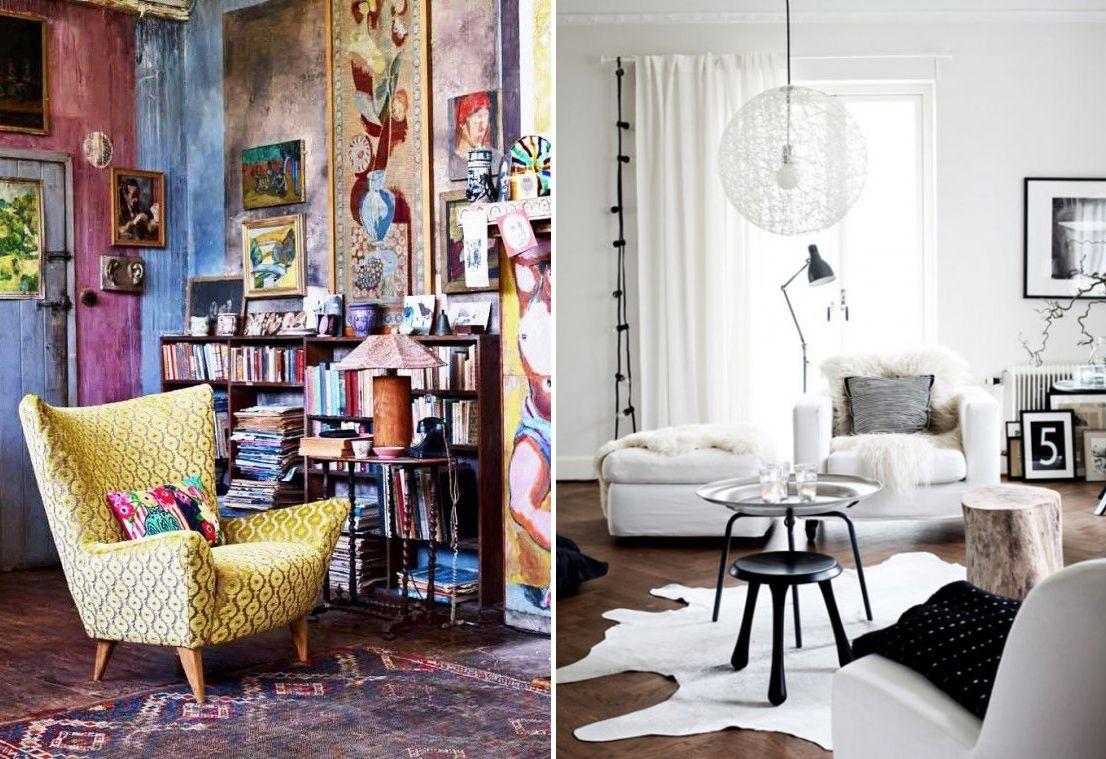 Salon décoré de couleur versus salon décoré de noir et blanc