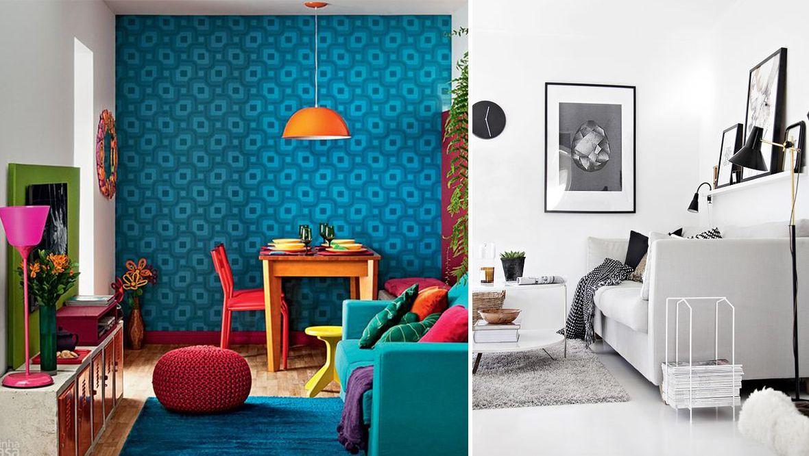 Cuisine décoré avec tapisserie de couleur vive versus salon décoré en noir et blanc
