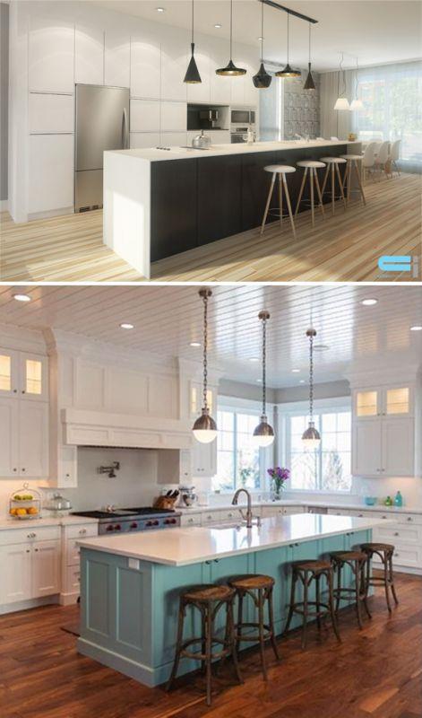 Deux cuisine avec décoration sobre et l'une que du noir et du blanc
