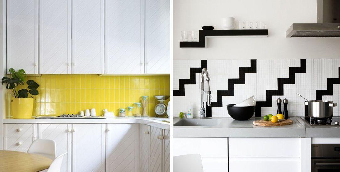 Deux cuisine en noir et blanc dont l'une est serti d'un dosseret jaune vif