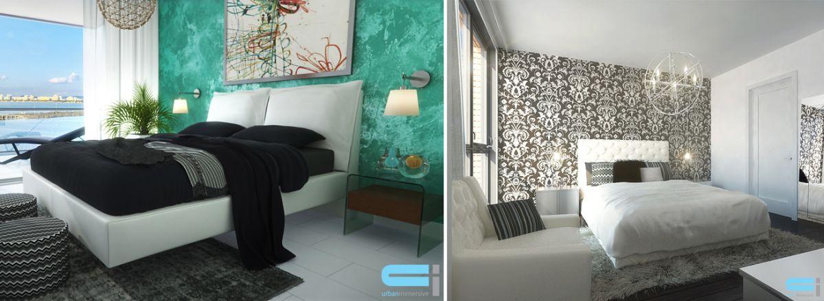 Deux chambres à coucher, l'une sobre en couleur, l'autre, que du noir et blanc