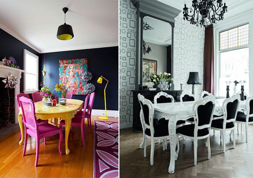 Deux cuisine aux mobiliers identique, l'une décoré de couleur, l'autre en noir et blanc