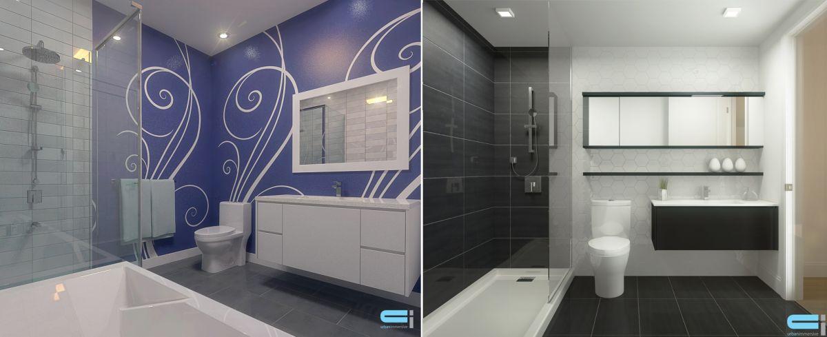 Salle de bain avec décoration noir et blanc et une de couleur