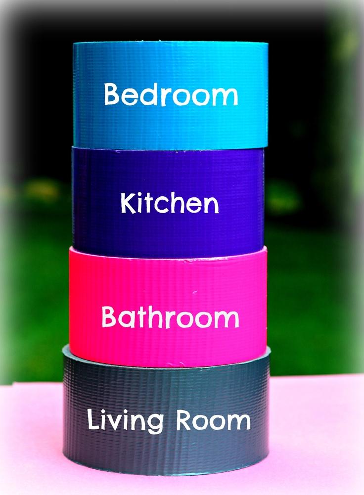 Roulette de ruban adhesif identrifié à des pièce de la maison