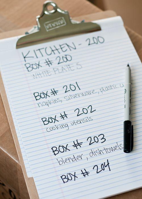 Liste qui identifie les pièces selon le numéro inscrit sur les boite de déménagement